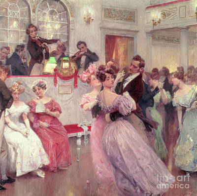 Fan Painting - The Ball by Charles Wilda
