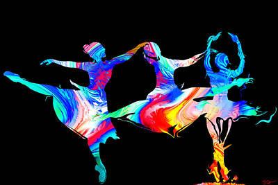 Dancer Painting - The Ballet Electric by Abstract Angel Artist Stephen K