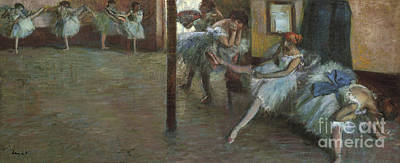 Behind The Scenes Painting - The Ballet Rehearsal, 1891 by Edgar Degas