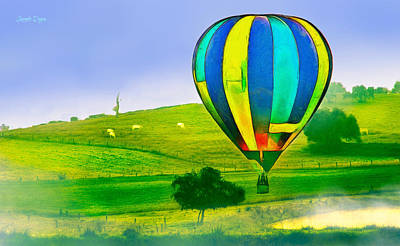 Bulls Digital Art - The Balloon In The Farm - Da by Leonardo Digenio