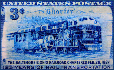 The Baltimore And Ohio Railroad Charter Stamp Art Print by Lanjee Chee