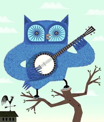 Owl Digital Art - The Banjowl by Oliver Lake