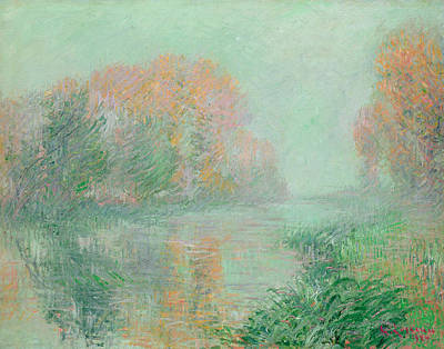 Tree Leaf On Water Painting - The Banks Of The Eure by Gustave Loiseau