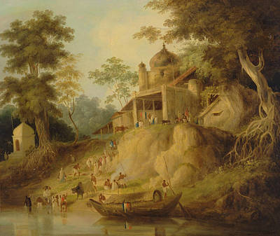 Indian River Painting - The Banks Of The Ganges by William Daniell