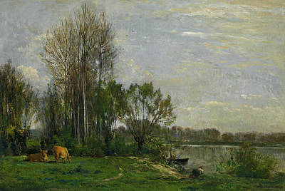 Realist Painting - The Banks Of The Oise by Charles-Francois Daubigny
