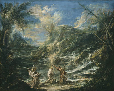 Clash Of Worlds Painting - The Baptism Of Christ by Alessandro Magnasco