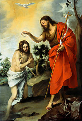 Baptizing Painting - The Baptism Of Christ by Bartolome Esteban Murillo