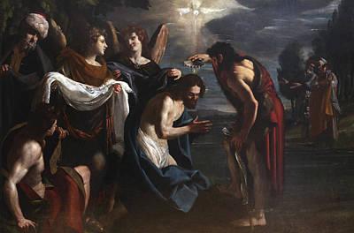 Baptism Painting - The Baptism Of Christ by Emilio Savonanzi