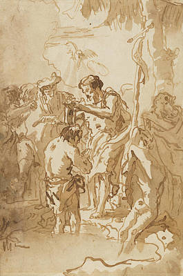 Drawing - The Baptism Of Christ  by Giovanni Domenico Tiepolo