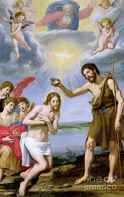Sea Birds Painting - The Baptism Of Christ by Ottavio Vannini
