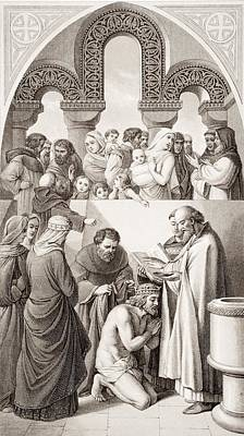 Baptism Drawing - The Baptism Of Ethelbert King Of Kent by Vintage Design Pics