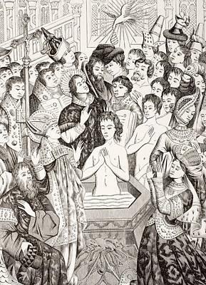 Clovis Drawing - The Baptism Of King Clovis I Of France by Vintage Design Pics