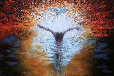 Painting - The Baptism Of The Christ With Dove by Daniel Bonnell