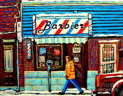 Montreal Winterscenes Painting - The Barber Shop Montreal Storefront Original Winter Scene Painting Canadian Art Carole Spandau       by Carole Spandau