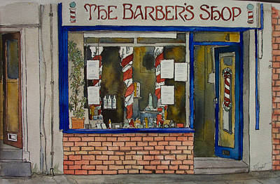 The Barber Shop Art Print by Victoria Heryet