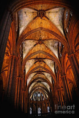 Photograph - The Barcelona Cathedral Ceiling by Sue Melvin
