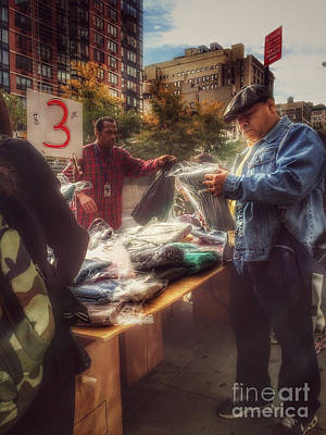 Photograph - The Bargaining Table - Street Vendors Of New York by Miriam Danar