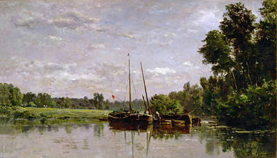 The Barges Art Print by Charles-Francois Daubigny