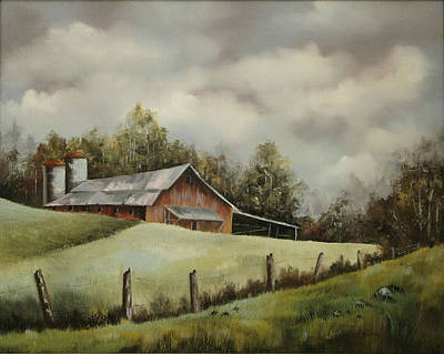 Painting - The Barn And The Sky by Jerry Kelley