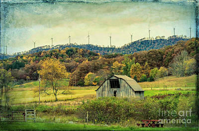 Photograph - The Barn And The Turbines - Wv by Kathleen K Parker