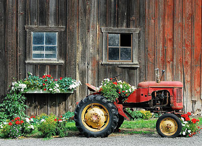 The Barn And Tractor Art Print by Paul W Sharpe Aka Wizard of Wonders