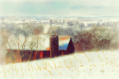 Digital Art - The Barn Over The Hill by Lois Bryan