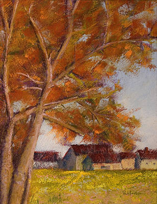 Pastels Painting - The Barns by David Patterson