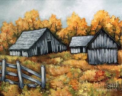 Painting - The Barns by Inese Poga