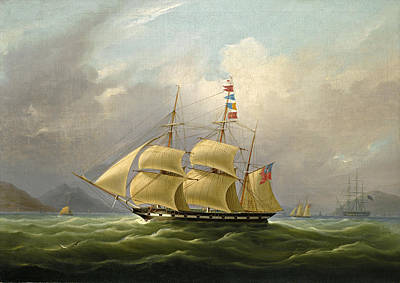 Painting - The Barque Sylph Beloging To Mr. Alexander Robertson Off The Macao. China by William John Huggins