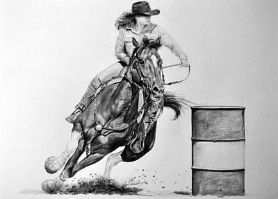 Drawing - The Barrel Racer by James Foster