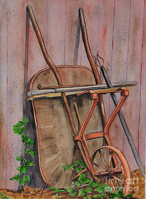 Back Yard Painting - The Barrow by John W Walker