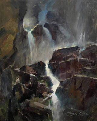 Glass Painting - The Base Of Timberline Falls by Anna Rose Bain