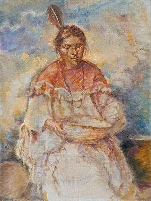First Americans Painting - The Basket Maker by Ellen Dreibelbis