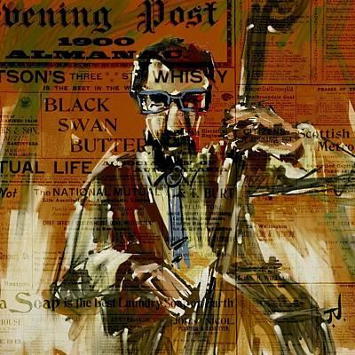 Digital Art - The Bass Player by Jim Vance