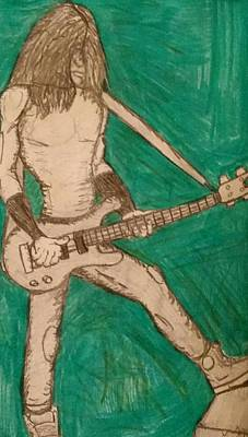 Drawing - The Bassist  by Yshua The Painter
