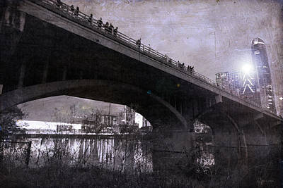 The Bat Bridge Night Austin Texas Art Print