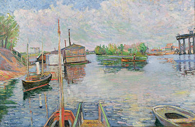 Boathouse Painting - The Bateau Lavoir At Asnieres by Paul Signac