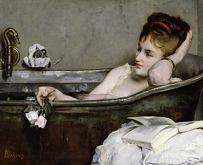 Female Portrait Painting - The Bath by Alfred George Stevens