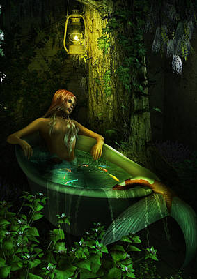 Naiad Digital Art - The Bath by Cheri Stollings