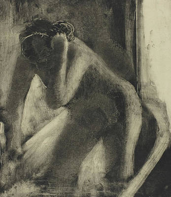 Hair-washing Drawing - The Bath by Edgar Degas