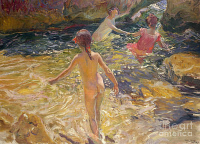 The Bath Art Print by Joaquin Sorolla y Bastida