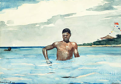 African American Men Painting - The Bather, 1899 by Winslow Homer