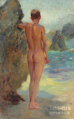 Young Man Painting - The Bather, 1912 by Henry Scott Tuke