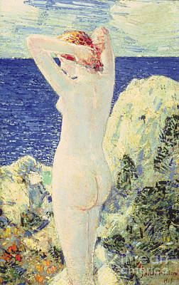 Swimmer Painting - The Bather by Childe Hassam