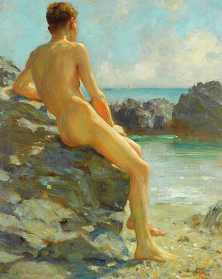 Painting - The Bather by Heny Scott Tuke
