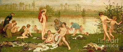 Riverbank Painting - The Bathers by Frederick Walker