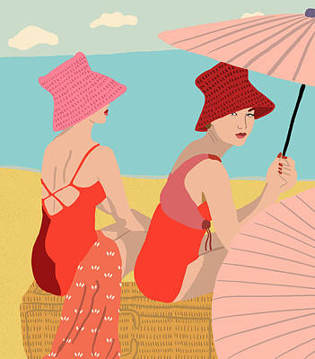 Summer Digital Art - The Bathers by Nicole Wilson
