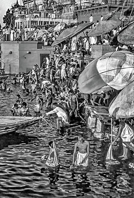 Photograph - The Bathing Ghats Bw by Steve Harrington