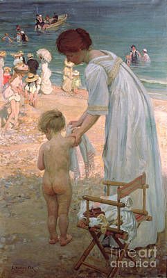 Maternal Painting - The Bathing Hour  by Emmanuel Phillips Fox