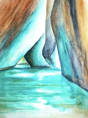 Painting - The Baths Glow Bvi by CarlinArt Watercolor